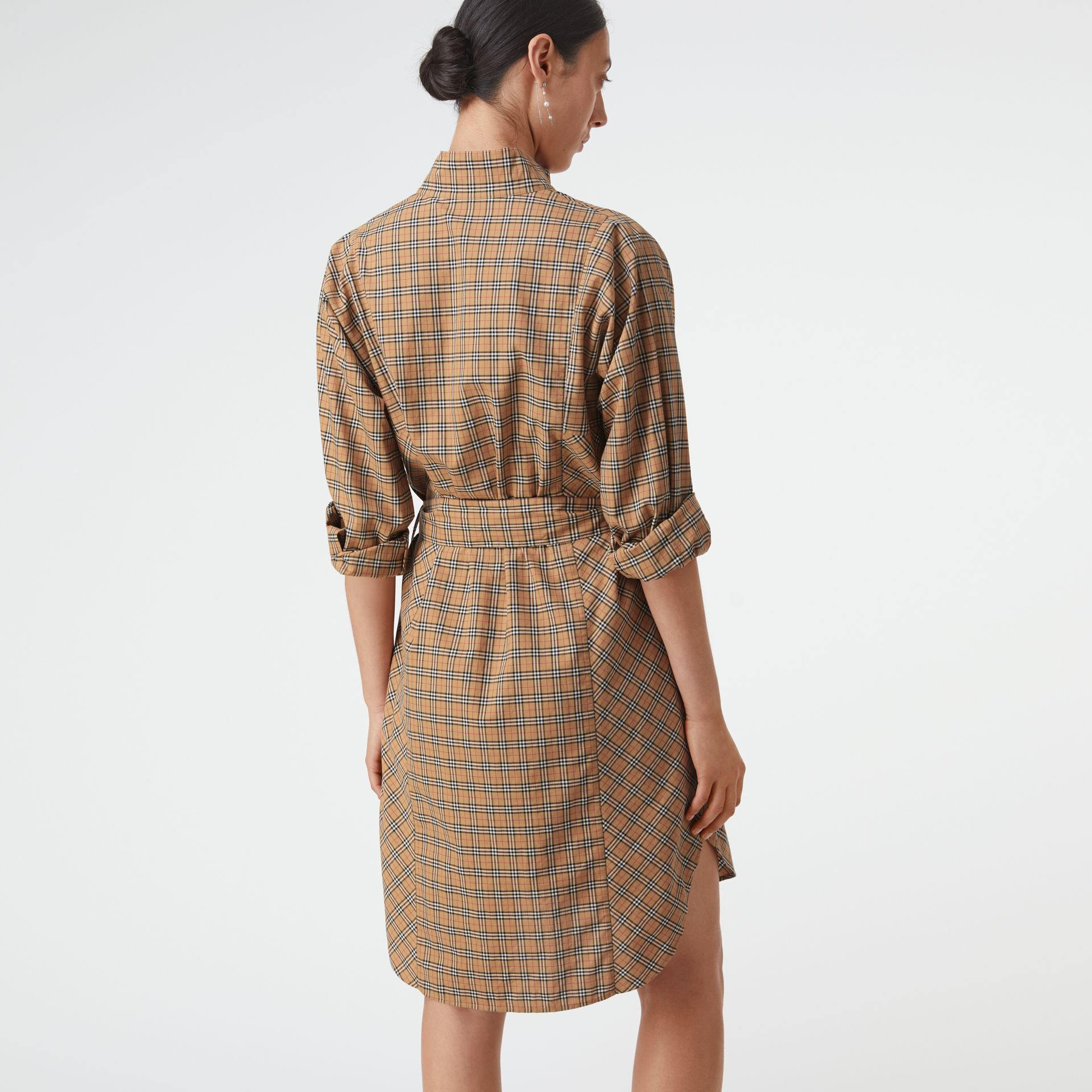 Check Cotton Tie-waist Shirt Dress in Antique Yellow - Women | Burberry Singapore - gallery image 2