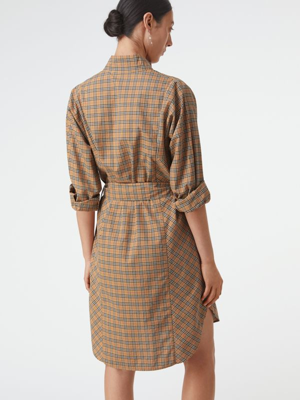 Check Cotton Tie-waist Shirt Dress in Antique Yellow - Women | Burberry - cell image 2