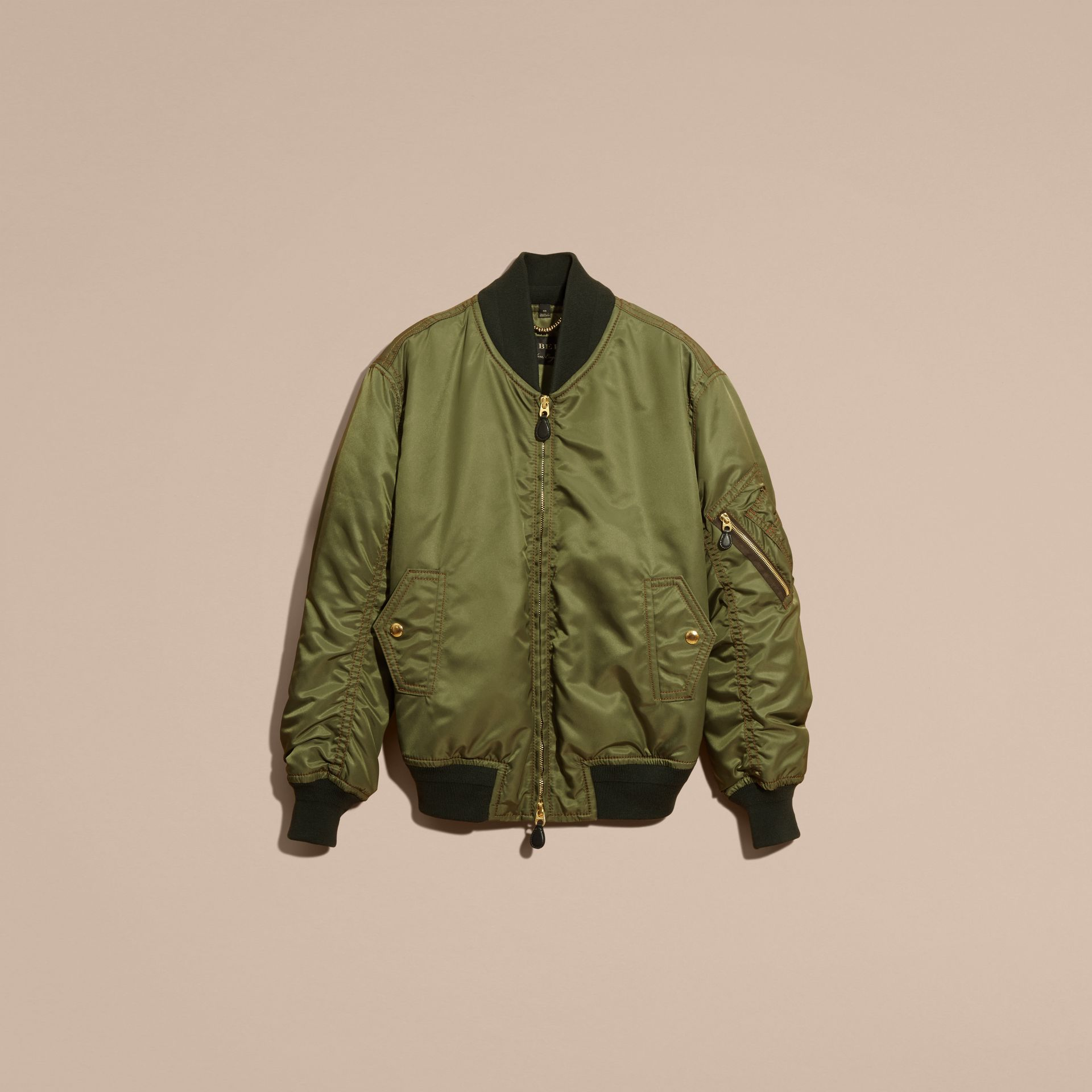 Light military green Oversize Bomber Jacket - gallery image 4