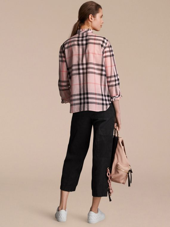 Ruffle Detail Check Cotton Shirt in Vintage Pink - Women | Burberry Australia - cell image 2