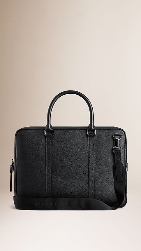Black London Leather Crossbody Briefcase - Image 3