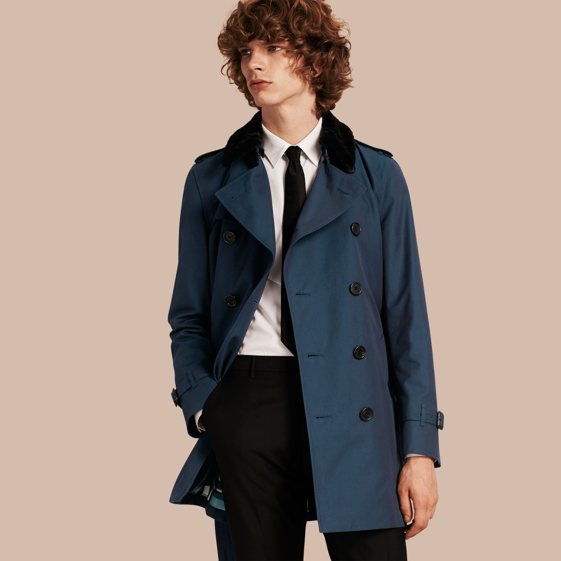 Detachable Shearling Topcollar Cotton Gabardine Trench Coat with Warmer in Teal Blue - gallery image 1