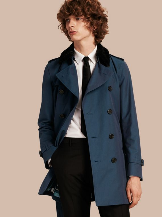 Detachable Shearling Topcollar Cotton Gabardine Trench Coat with Warmer Teal Blue