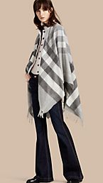 Check Cashmere and Wool Poncho