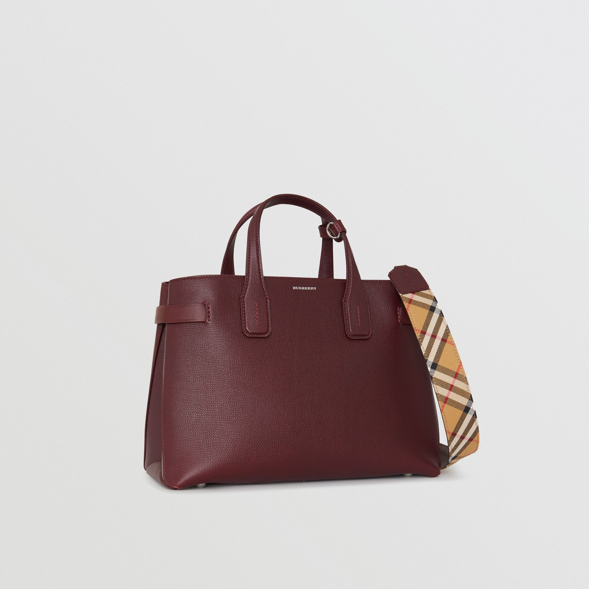 The Medium Banner in Leather and Vintage Check in Mahogany Red - Women | Burberry United Kingdom - gallery image 0