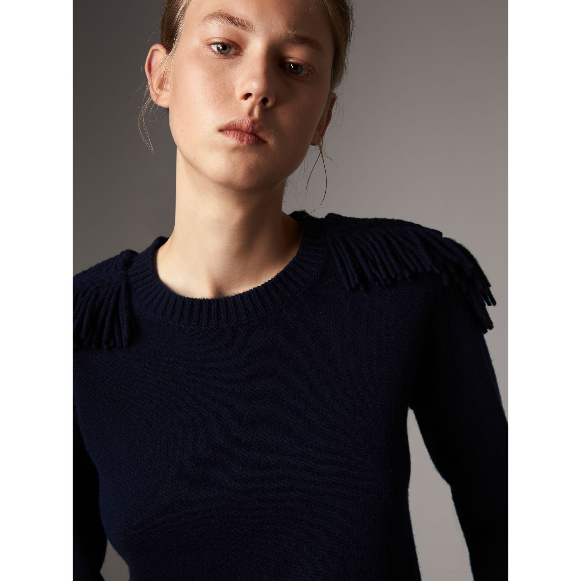 Military Braid Detail Wool Cashmere Sweater in Navy - Women | Burberry - gallery image 1