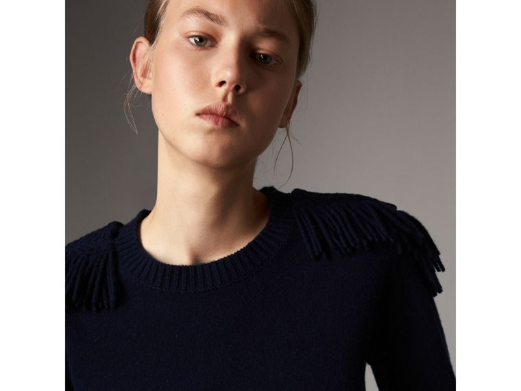 Military Braid Detail Wool Cashmere Sweater in Navy - Women | Burberry - cell image 1