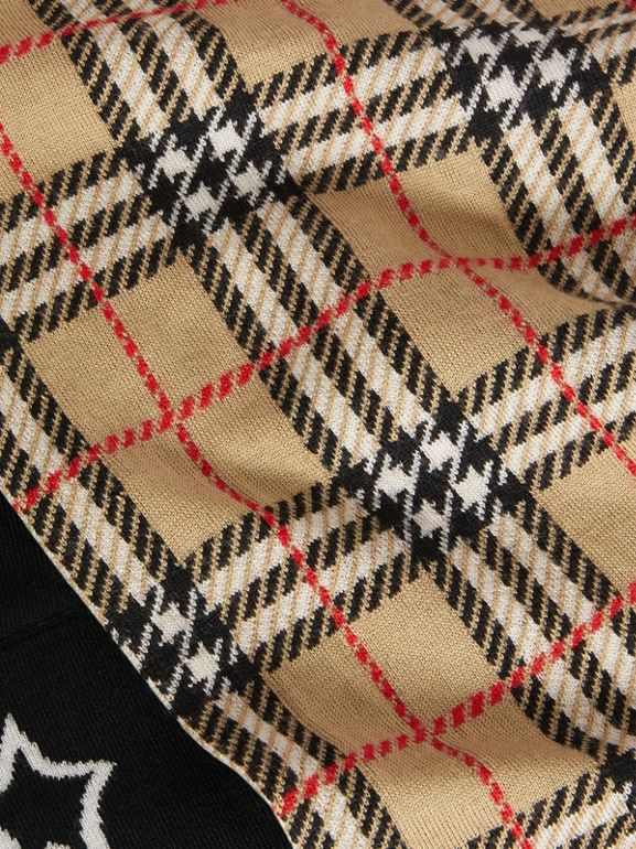 Star Detail Check Merino Wool Jacquard Scarf in Archive Beige - Children | Burberry - cell image 1