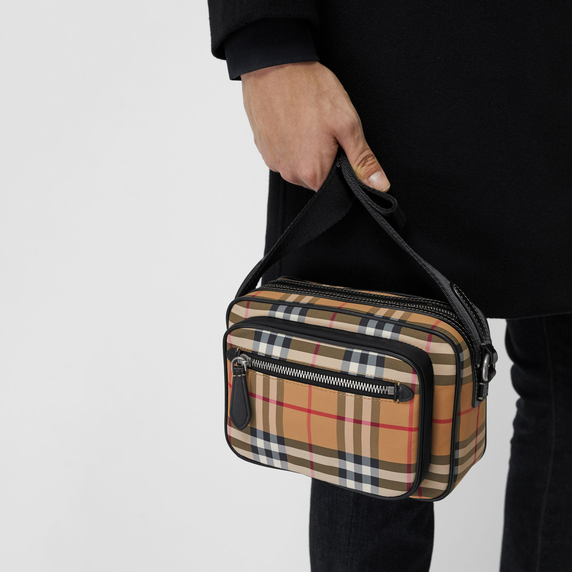 Vintage Check and Leather Crossbody Bag in Antique Yellow - Men | Burberry United States - gallery image 3