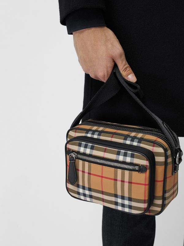 Vintage Check and Leather Crossbody Bag in Antique Yellow - Men | Burberry Hong Kong - cell image 3