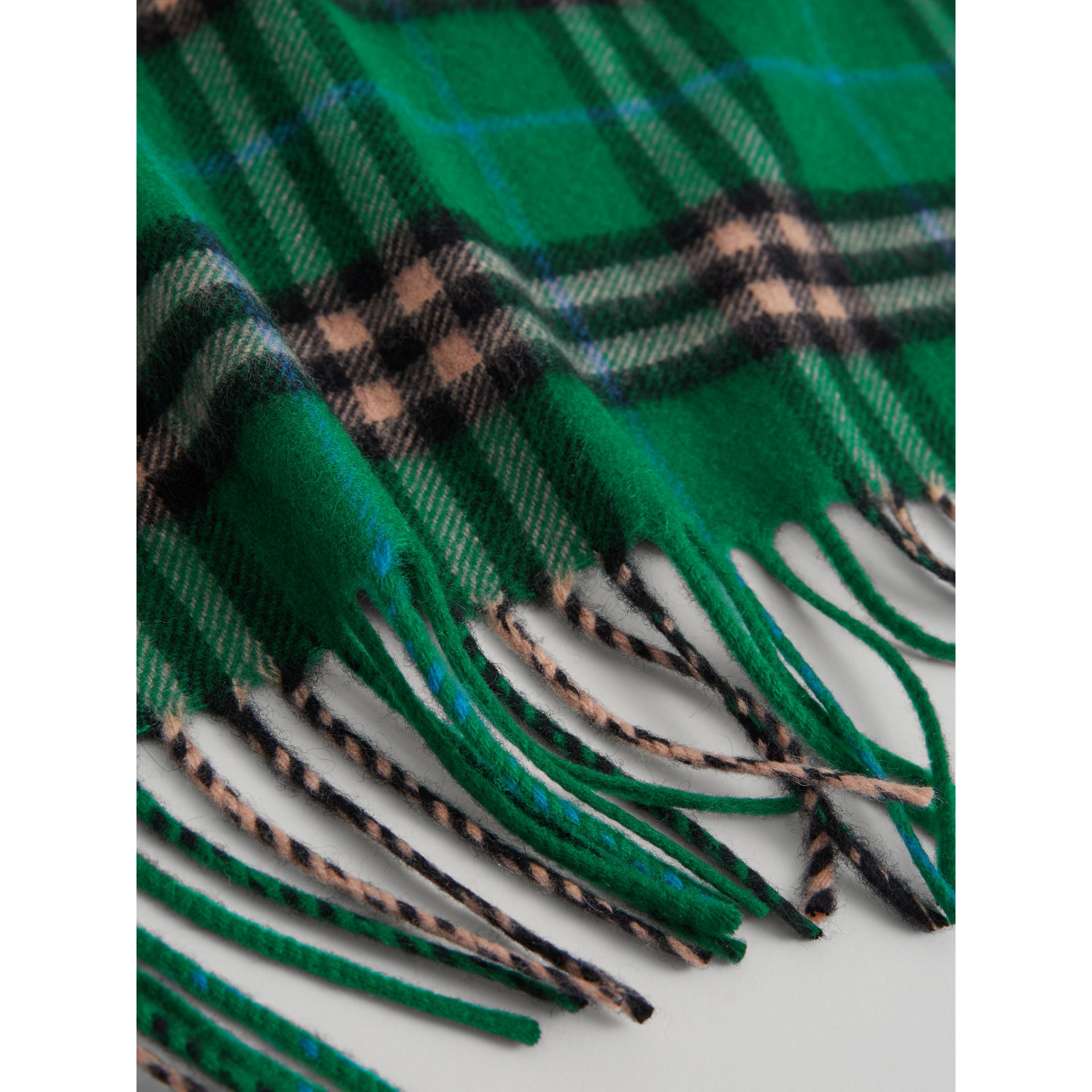 The Mini Burberry Bandana in Check Cashmere in Pine Green | Burberry - gallery image 1