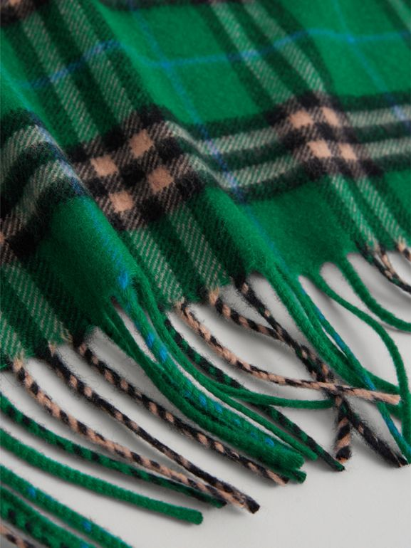 The Mini Burberry Bandana in Check Cashmere in Pine Green | Burberry Singapore - cell image 1