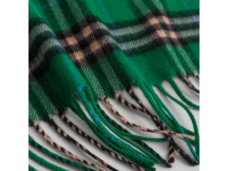 The Mini Burberry Bandana in Check Cashmere in Pine Green | Burberry Australia - cell image 1