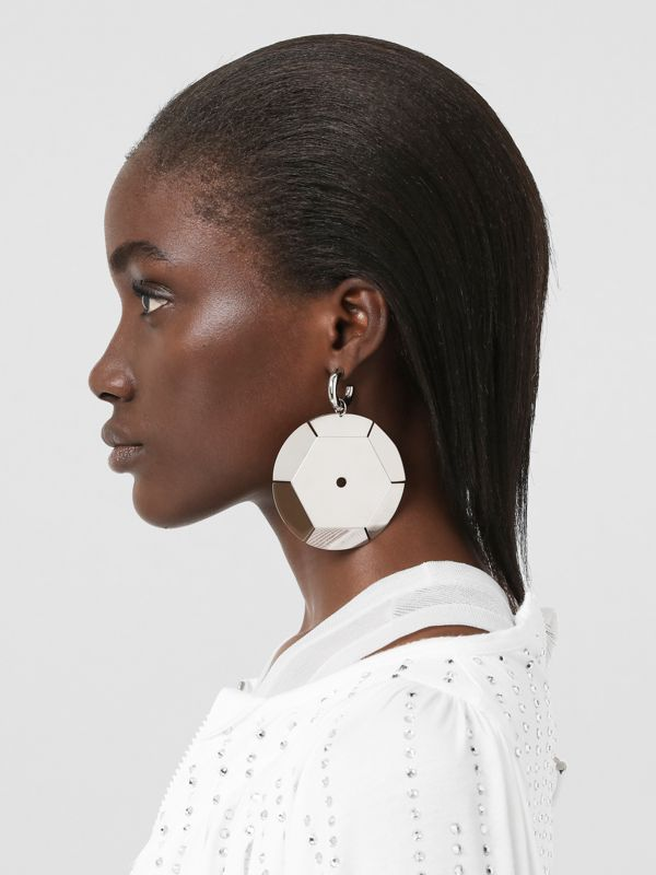 Palladium-plated Paillette Hoop Earrings - Women | Burberry - cell image 2