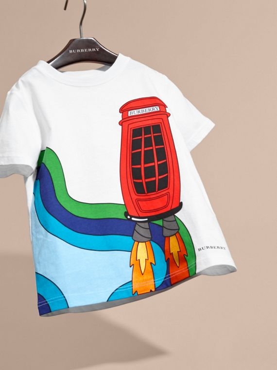 White Rocket Telephone Box Print Cotton T-shirt - cell image 2