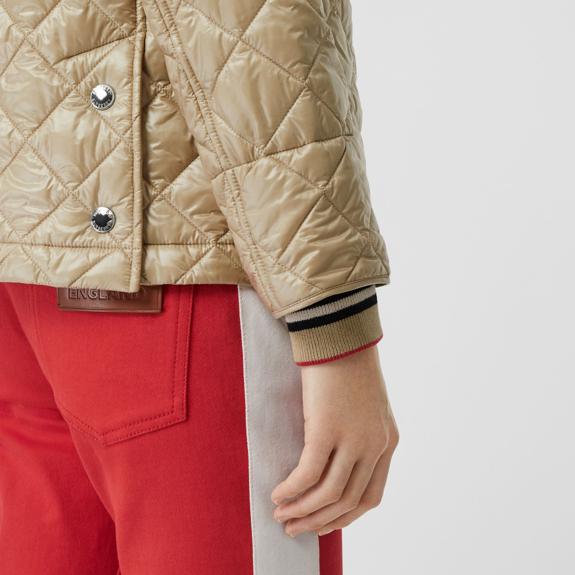 Monogram Motif Diamond Quilted Jacket in Honey - Women | Burberry - gallery image 4
