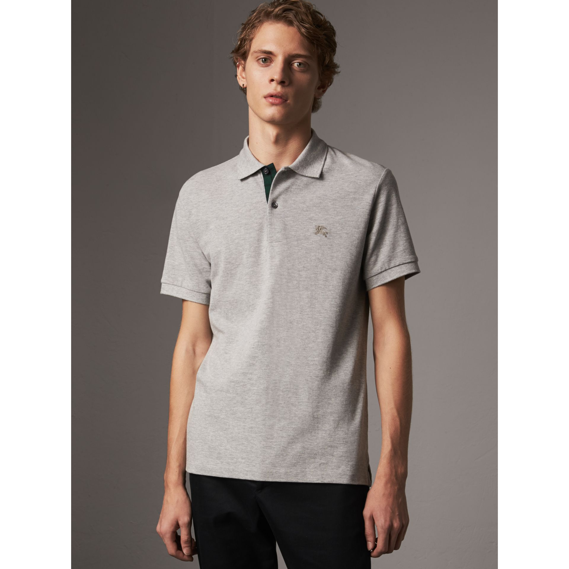 Tartan Trim Cotton Piqué Polo Shirt in Pale Grey Melange - Men | Burberry - gallery image 4