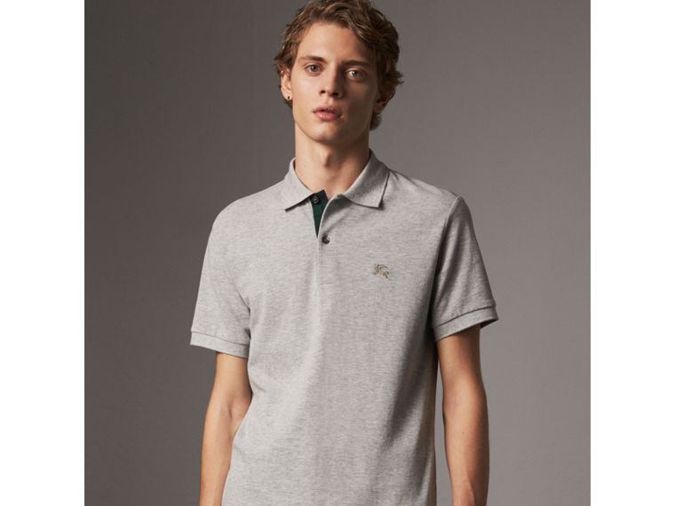 Tartan Trim Cotton Piqué Polo Shirt in Pale Grey Melange - Men | Burberry Singapore - cell image 4