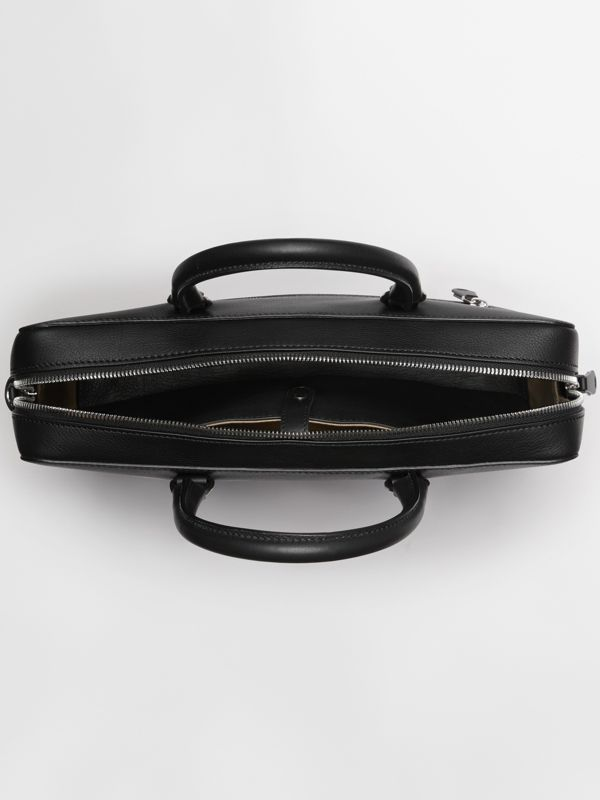 Embossed Crest Leather Briefcase in Black - Men | Burberry Australia - cell image 3
