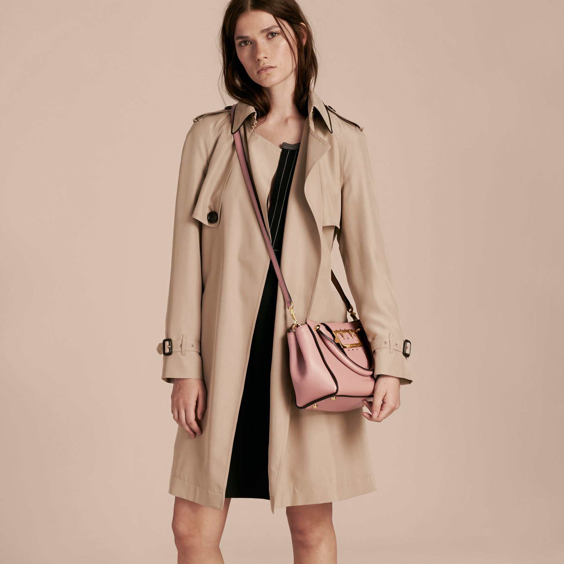 The Small Buckle Tote in Grainy Leather Dusty Pink - gallery image 3