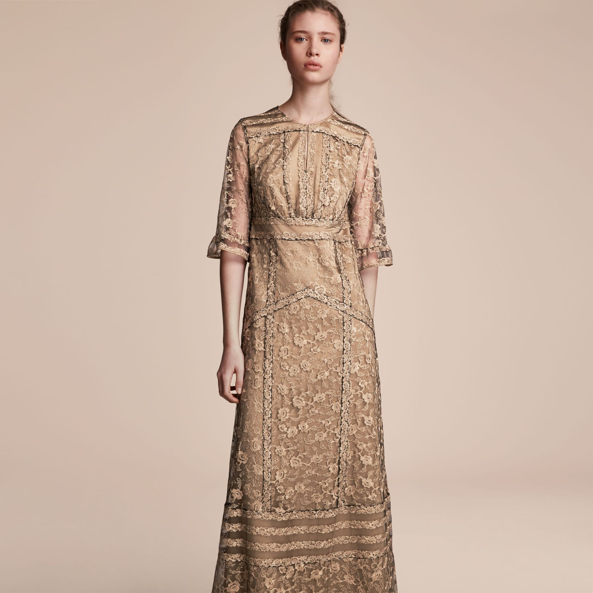 Floral Lace Tulle Dress in Gold - Women | Burberry - gallery image 6