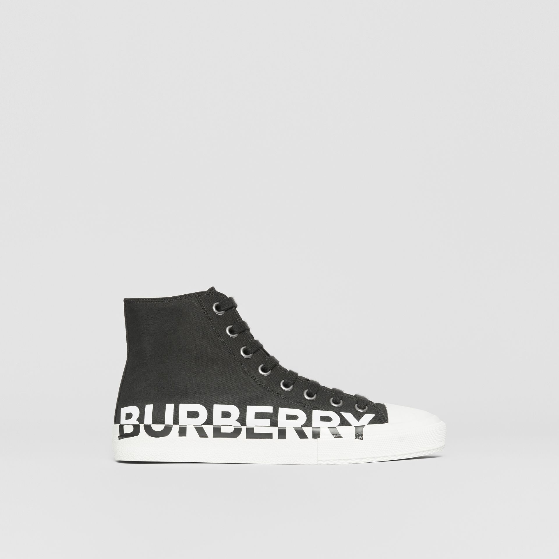 Logo Print Cotton Gabardine High-top Sneakers in Black/white - Men | Burberry - gallery image 5
