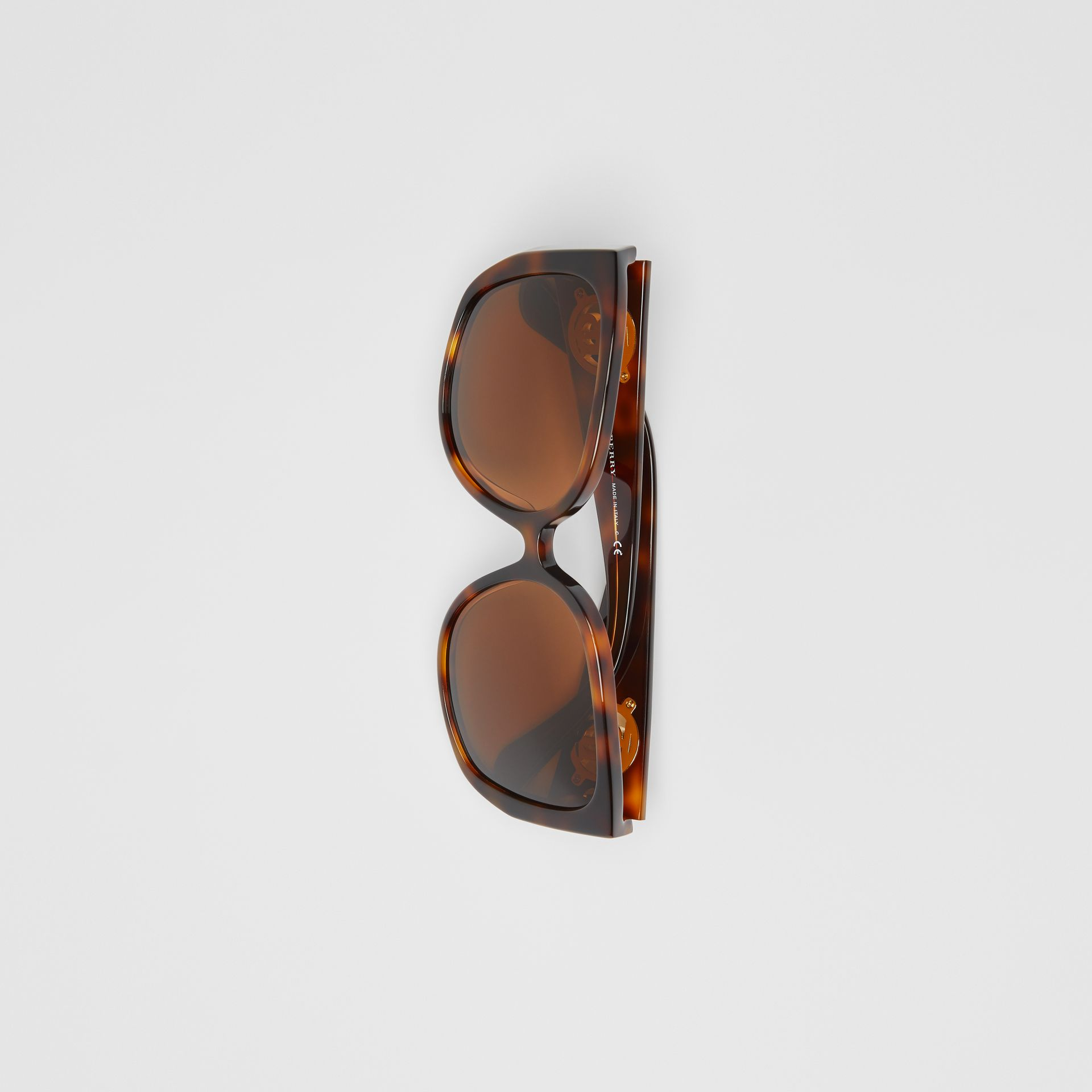 Monogram Detail Round Frame Sunglasses in Tortoise Shell - Women | Burberry Australia - gallery image 2