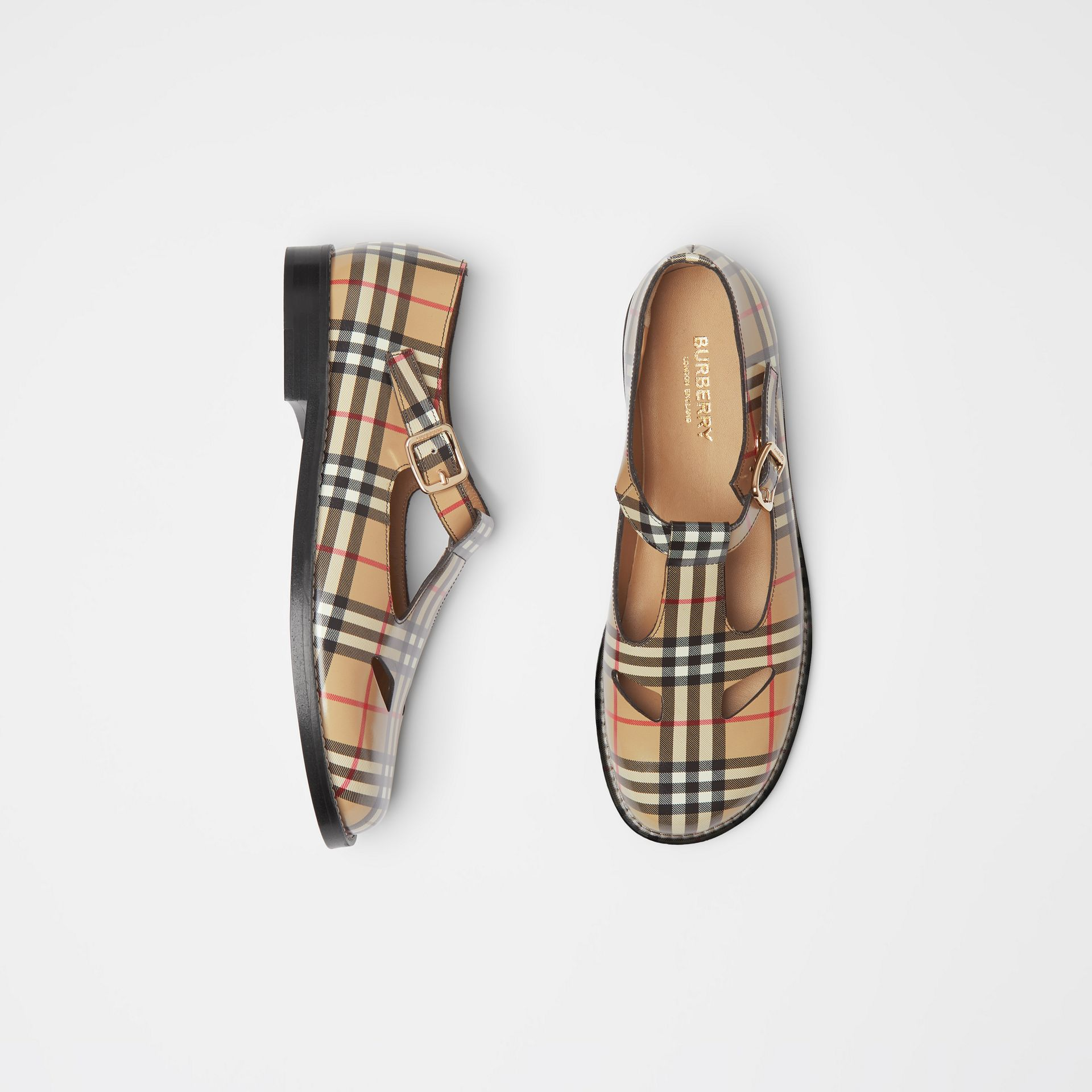 Vintage Check Leather T-bar Shoes in Archive Beige - Women | Burberry - gallery image 0