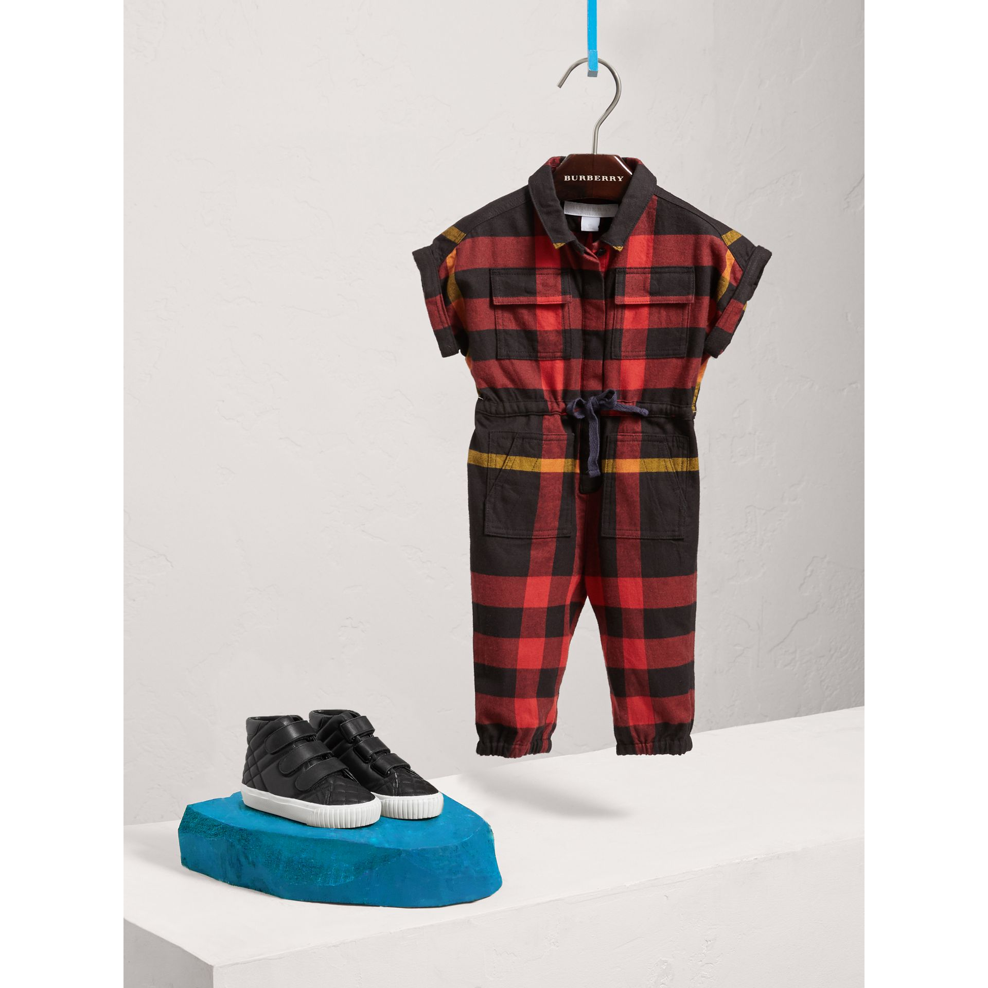 Short-sleeve Check Cotton Flannel Jumpsuit in Black | Burberry Australia - gallery image 2