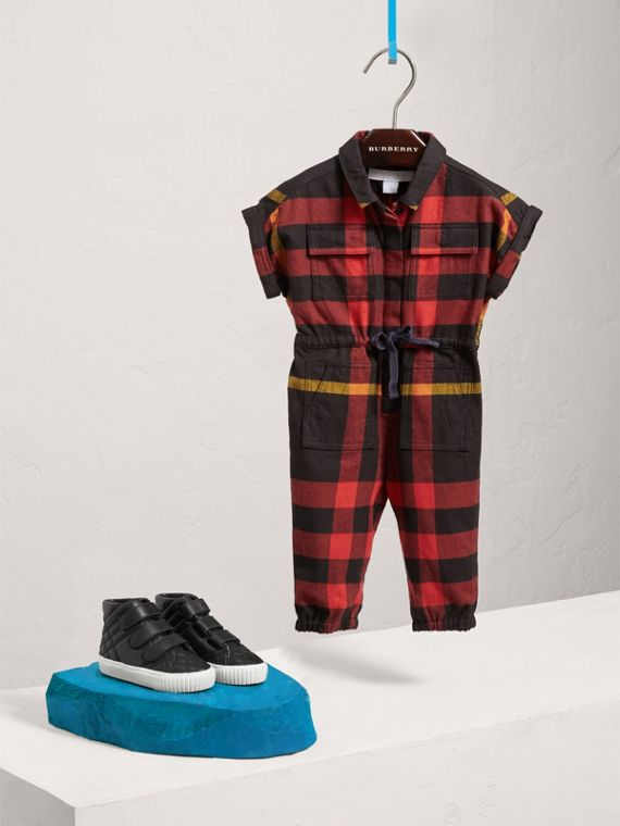 Short-sleeve Check Cotton Flannel Jumpsuit in Black | Burberry Australia - cell image 2