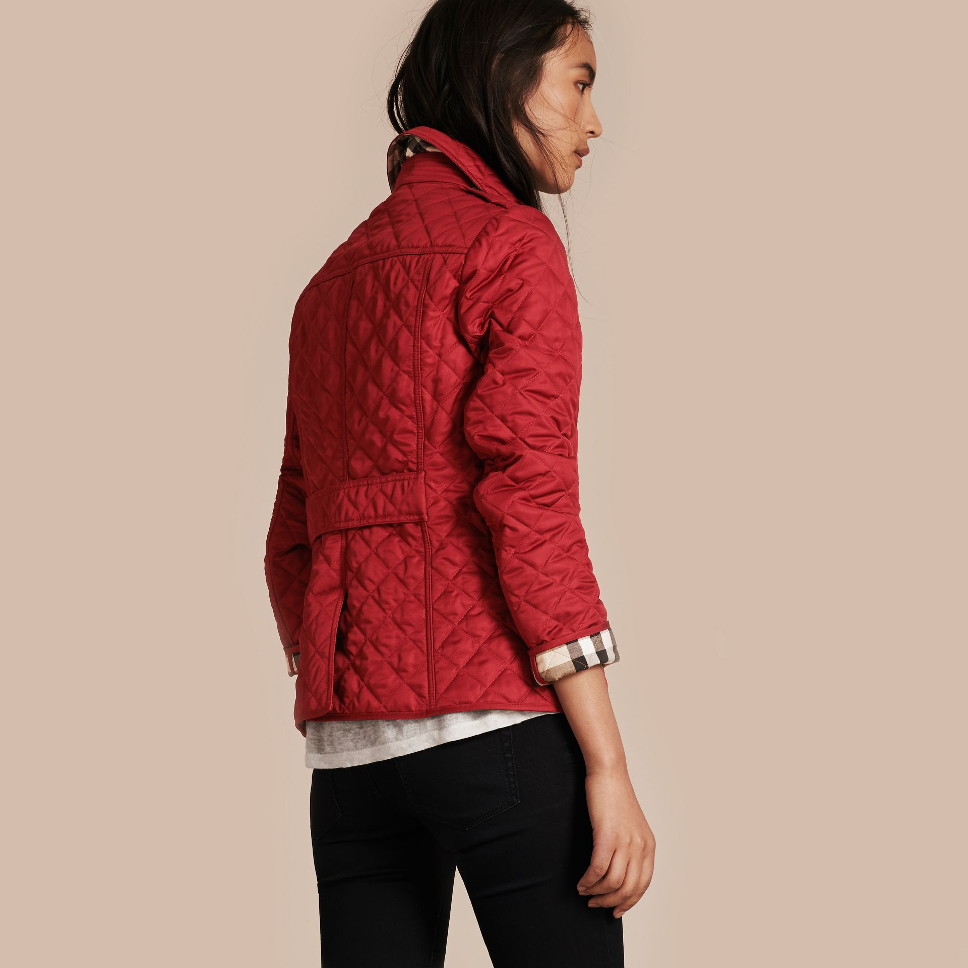 Diamond Quilted Jacket in Parade Red - gallery image 3