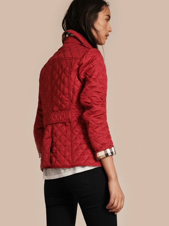 Diamond Quilted Jacket in Parade Red - cell image 2