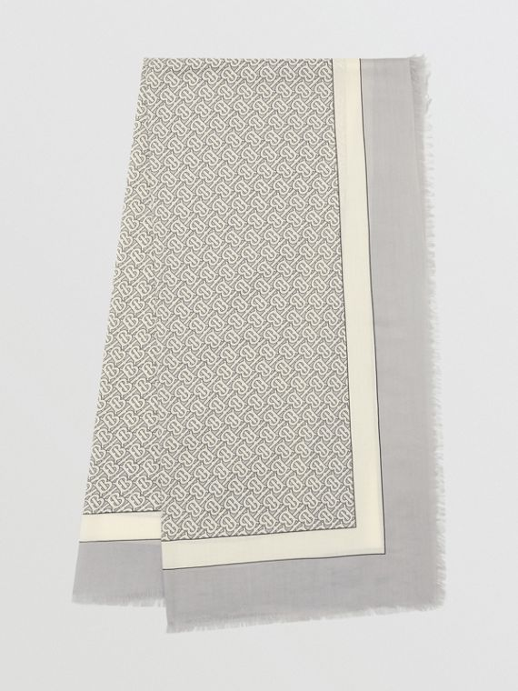 Monogram Print Lightweight Cashmere Scarf in Light Pebble Grey