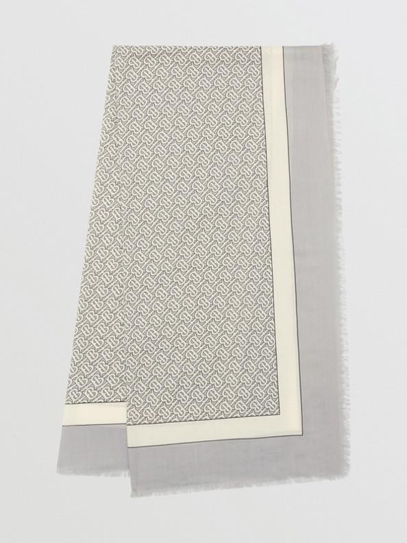Monogram Print Lightweight Cashmere Scarf in Light Pebble Grey