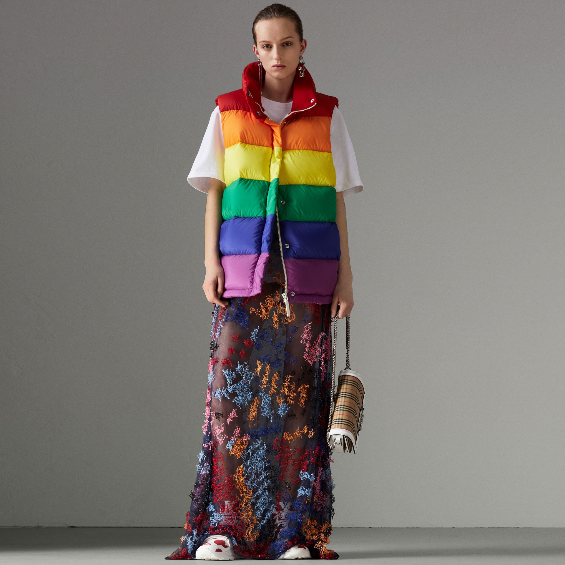 Rainbow Down-filled Gilet in Multicolour - Women | Burberry - gallery image 0