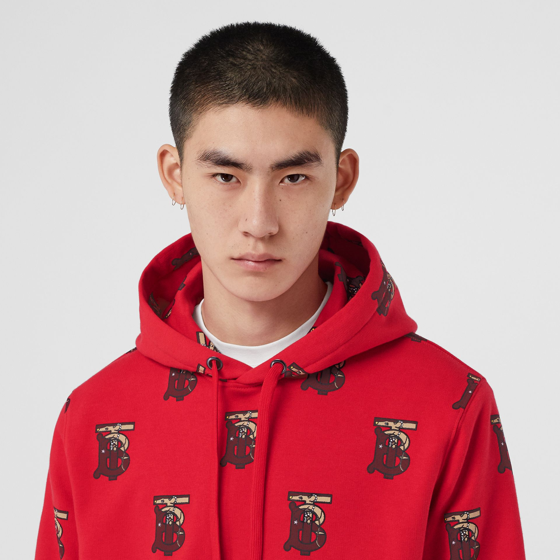 Monogram Motif Cotton Oversized Hoodie in Bright Red - Men | Burberry - gallery image 1