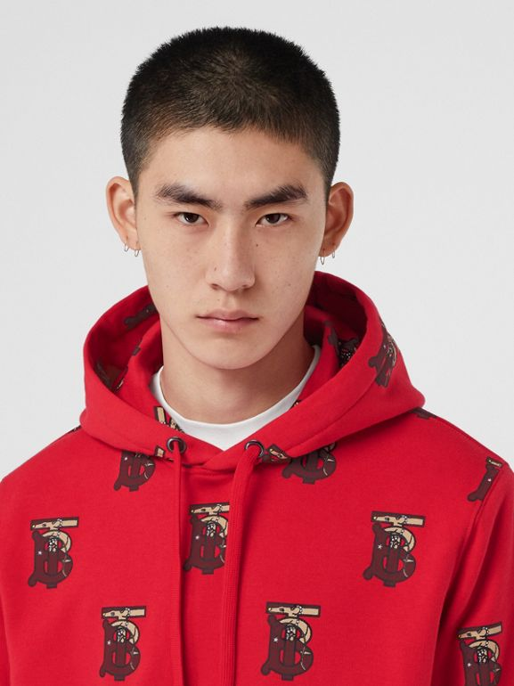 Monogram Motif Cotton Oversized Hoodie in Bright Red - Men | Burberry - cell image 1
