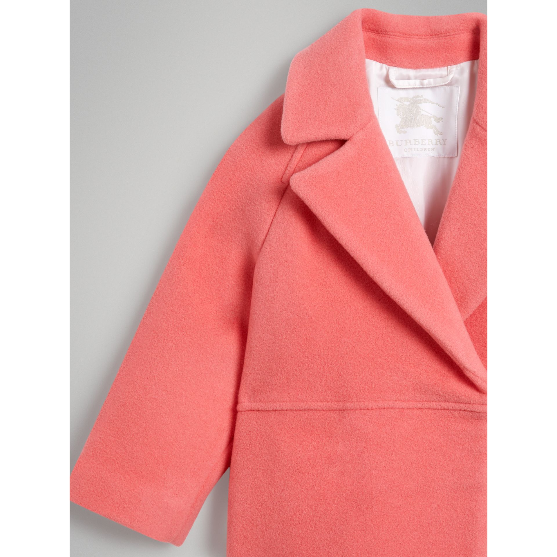Boiled Wool Cocoon Coat in Bright Pink | Burberry Singapore - gallery image 6