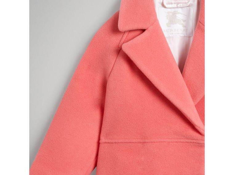 Boiled Wool Cocoon Coat in Bright Pink - Girl | Burberry - cell image 4