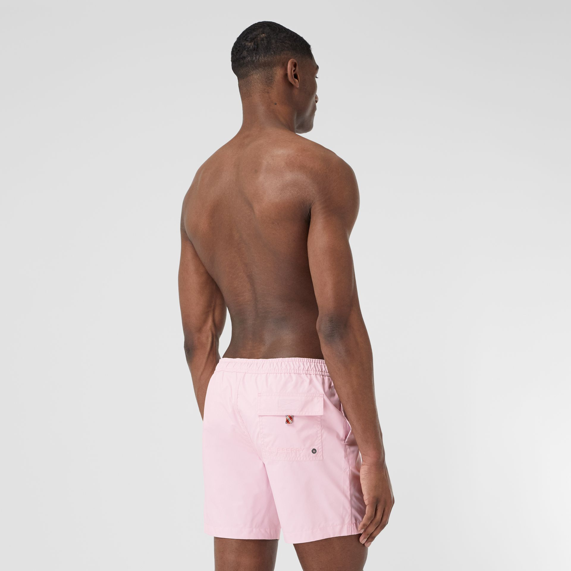 Deer Appliqué Drawcord Swim Shorts in Alabaster Pink - Men | Burberry - gallery image 1