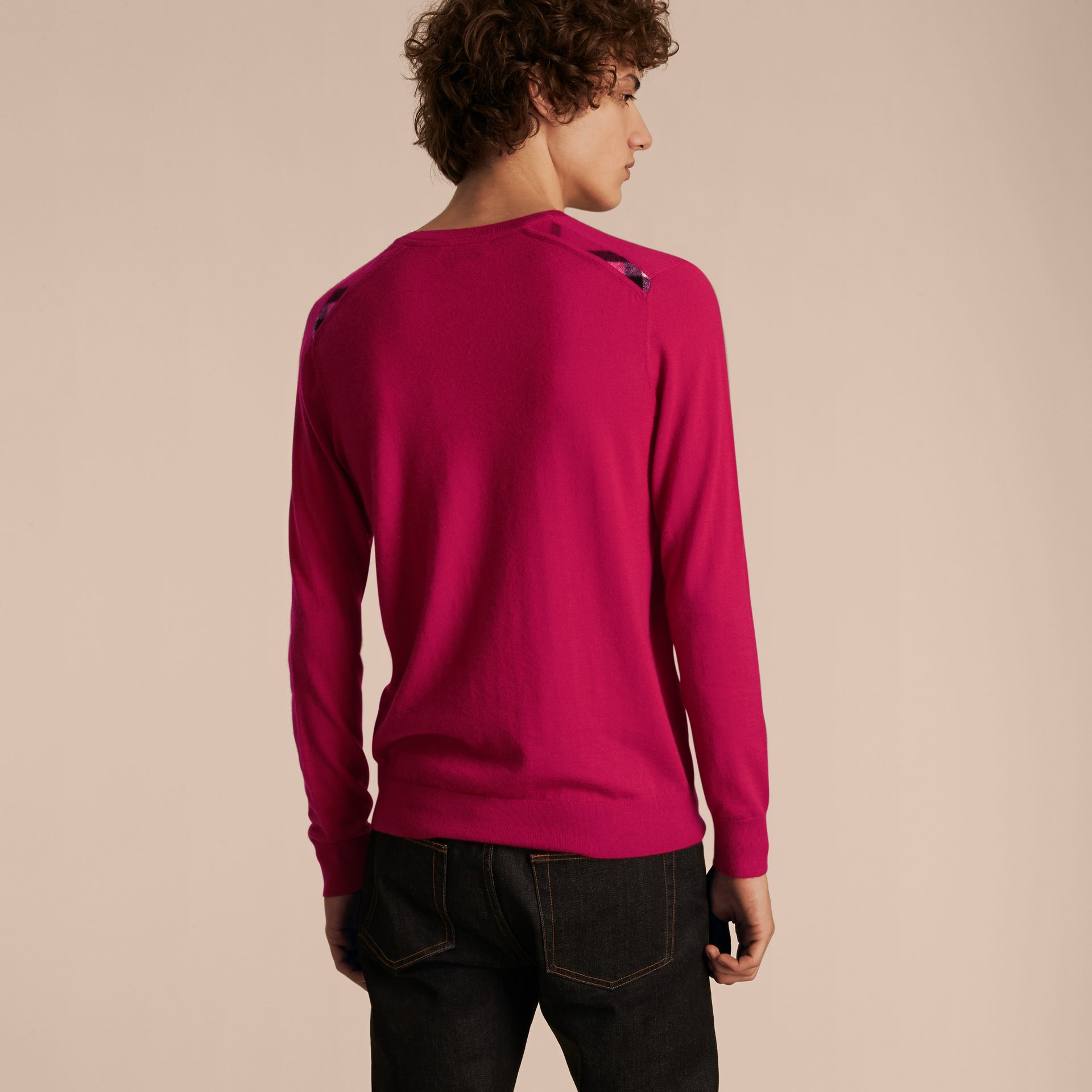 Lightweight Crew Neck Cashmere Sweater with Check Trim Bright Pink - gallery image 3