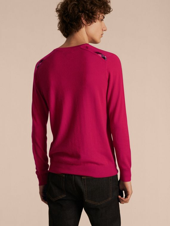 Lightweight Crew Neck Cashmere Sweater with Check Trim Bright Pink - cell image 2