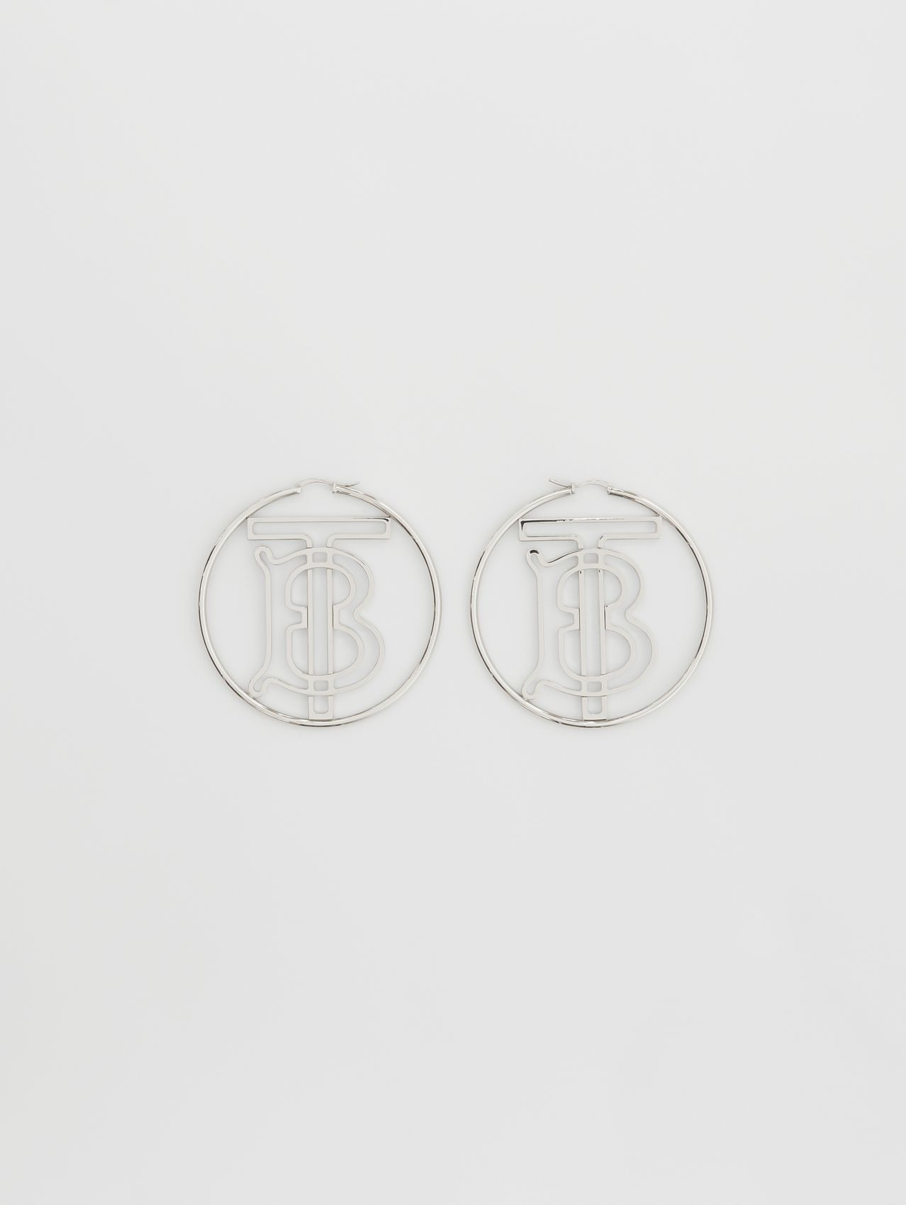 Palladium-plated Monogram Motif Hoop Earrings in Palladio
