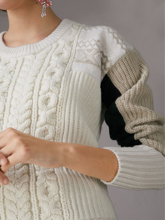 Colour Block Fair Isle and Cable Knit Wool Cashmere Sweater in Ivory - Women | Burberry - cell image 1