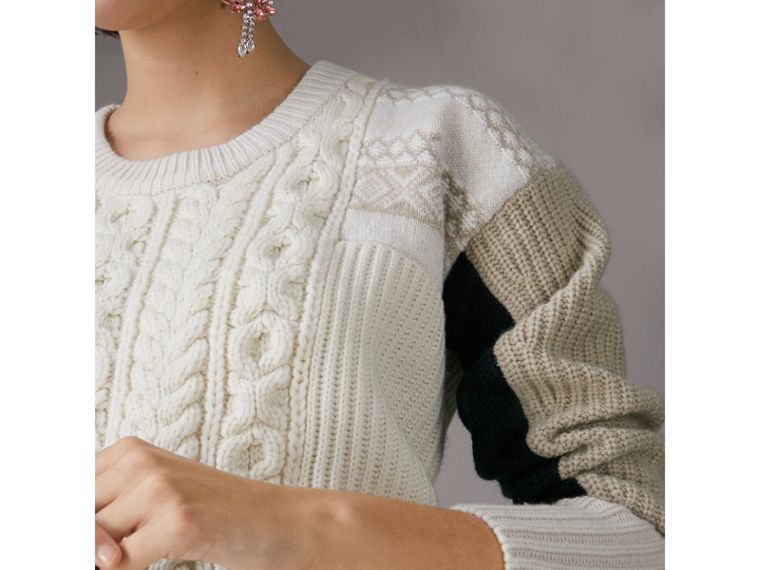Colour Block Fair Isle and Cable Knit Wool Cashmere Sweater in Ivory - Women | Burberry Australia - cell image 1
