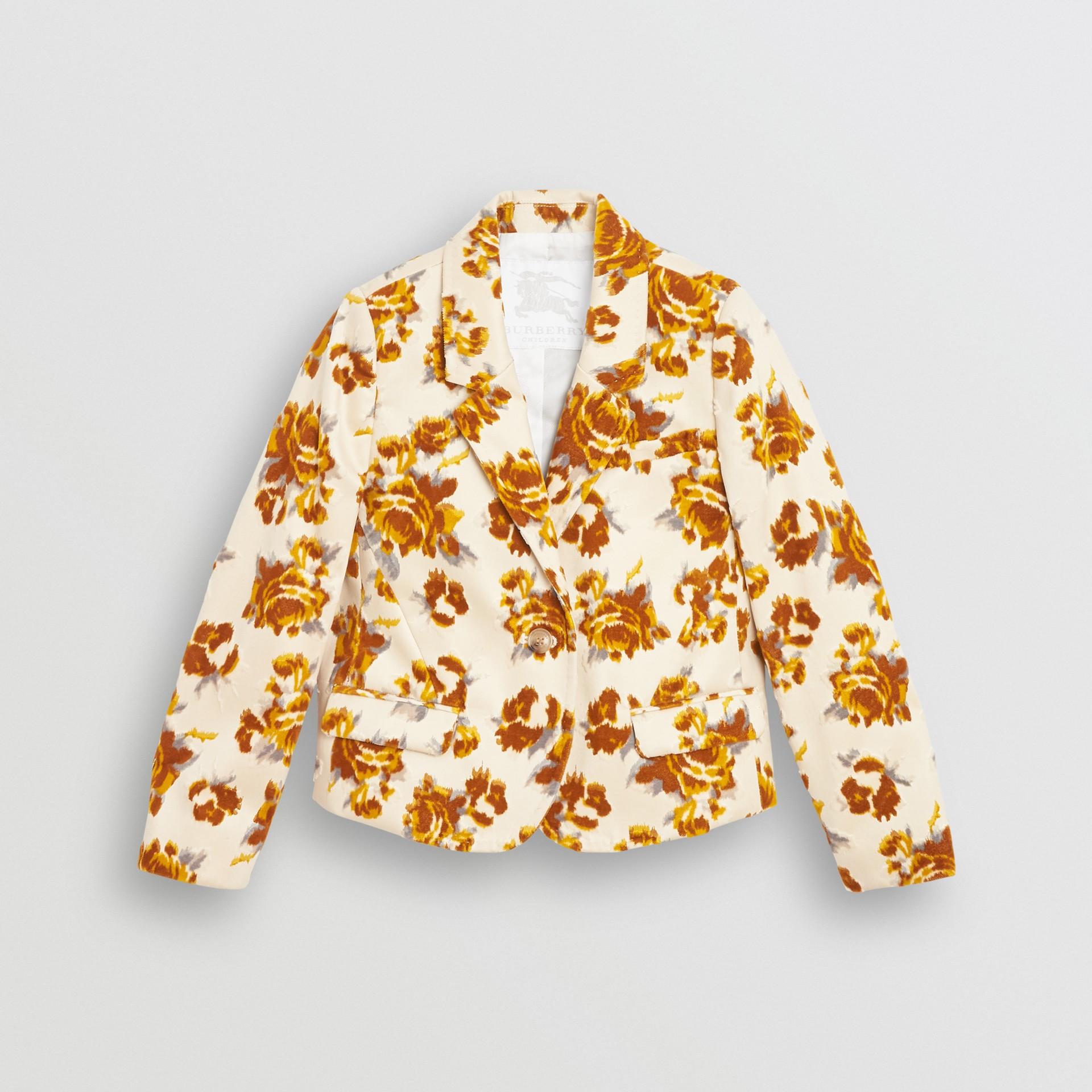 Blazer in jacquard di velluto con decorazione floreale (Senape) | Burberry - immagine della galleria 0