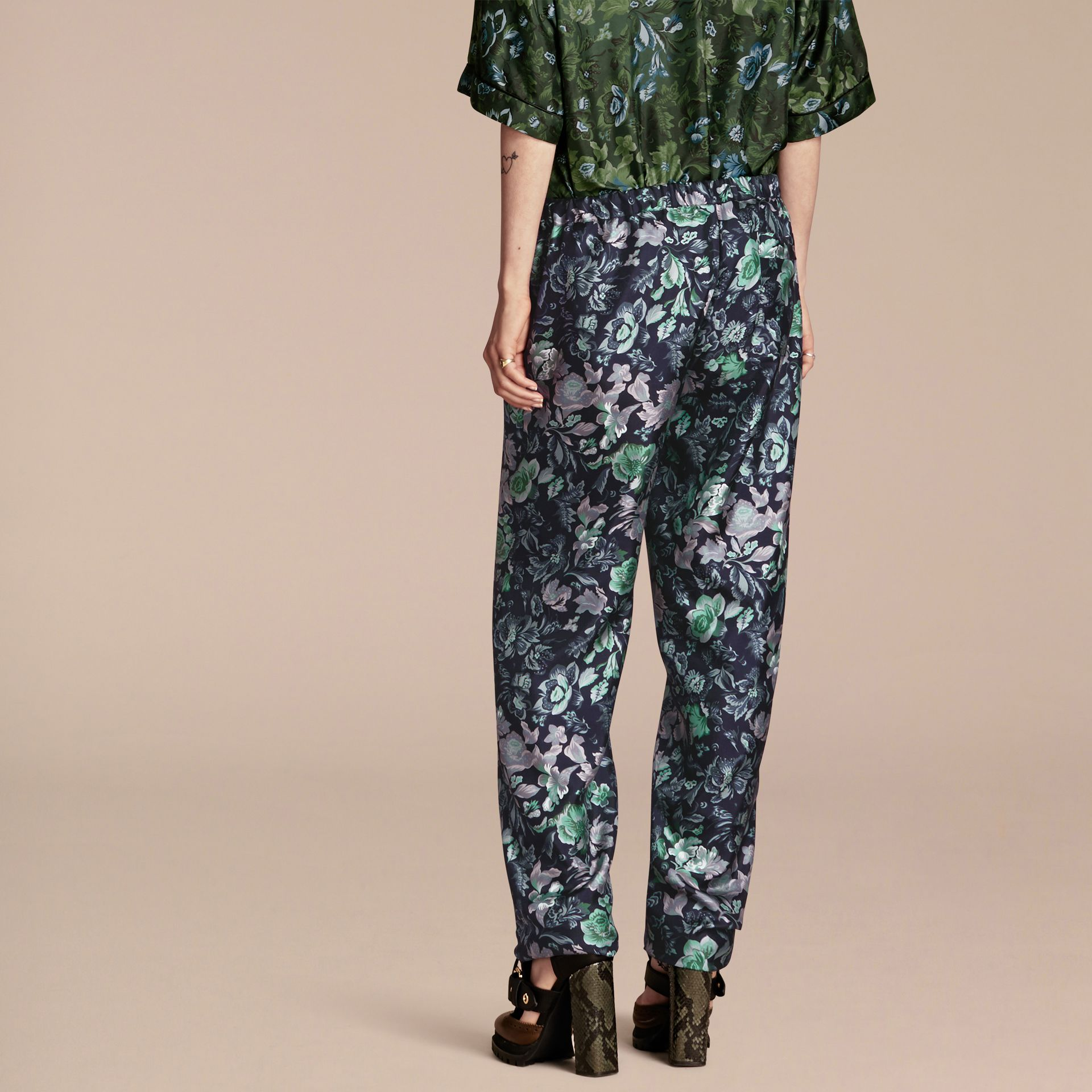 Navy Floral Print Silk Twill Pyjama-style Trousers - gallery image 3