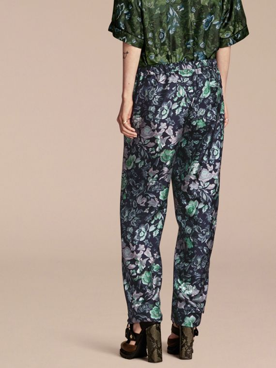 Navy Floral Print Silk Twill Pyjama-style Trousers - cell image 2