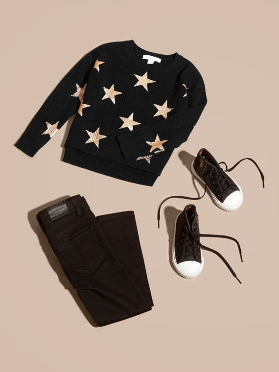 Star Print Textured Check Cashmere Sweater