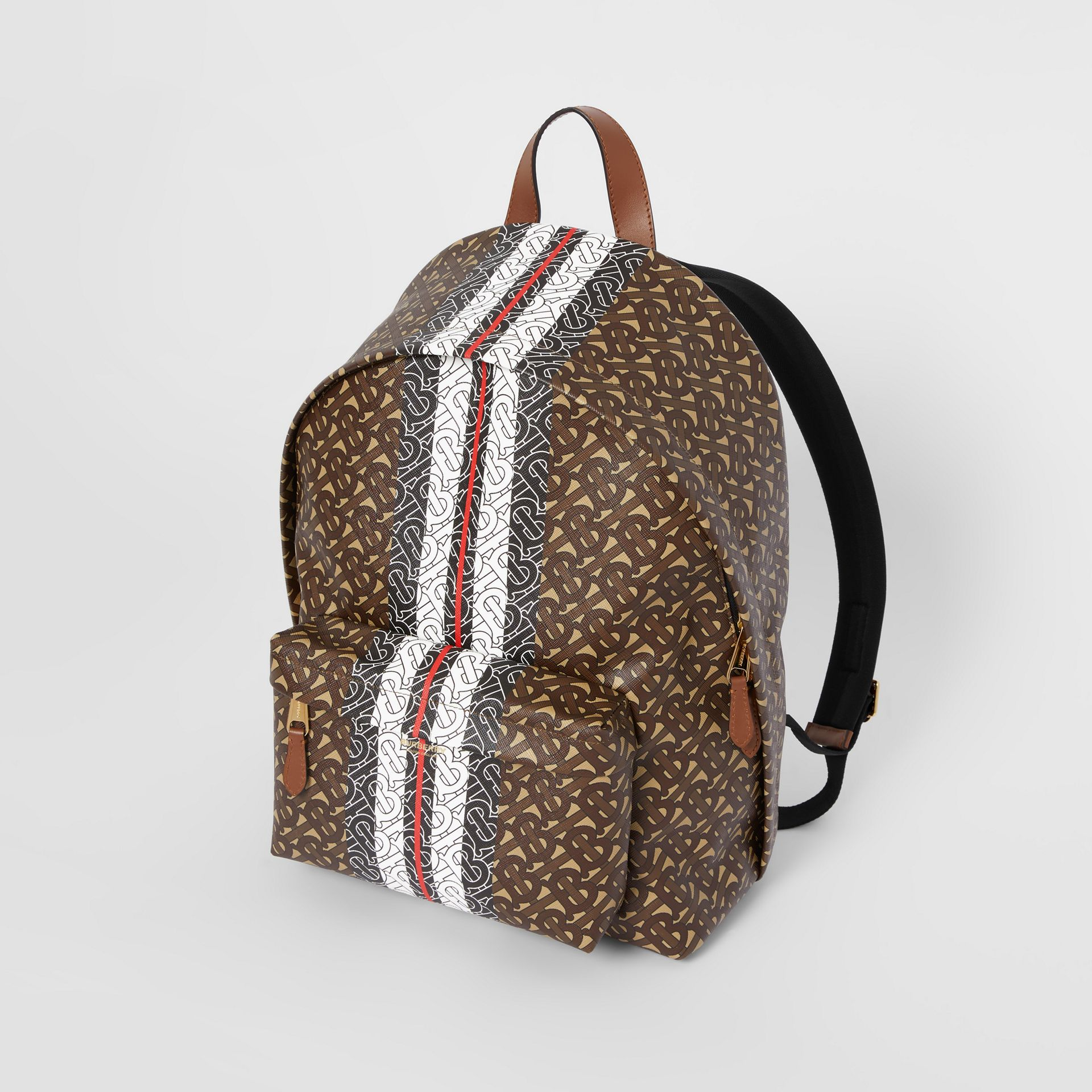 Monogram Stripe Print E-canvas Backpack in Bridle Brown | Burberry Australia - gallery image 4